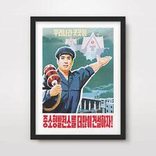 NORTH KOREAN KOREA PROPAGANDA POSTER Art Print DPRK Political Sign Juche Worker
