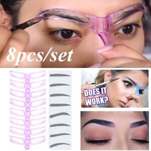 8PCS DIY  Eyebrow Shaper Makeup Template Eyebrow Grooming Shaping Stencil  fun