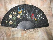 UNIQUE Antique Silk Folding Fan- Hand Embroidered Birds Hand Painted Flowers