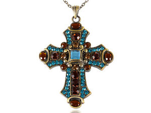 Vintage Huge Aquamarine Blue Topaz Crystal Rhinestone Accent Holy Cross Pendant