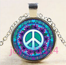 Vintage peace symbol Cabochon Tibetan silver Glass Chain Pendant Necklace #3387