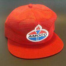 Vintage Amoco Mesh Trucker Hat Cap Snapback Adjustable Red K Brand USA NOS Gas