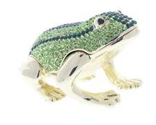 Ciel Collectibles Enamel Jeweled Large Frog Trinket Box Austrian Crystals