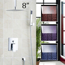 Chrome LED 8'' Square Rainfall Bathroom Shower Head Faucet Mixer Sprayer Tap Set