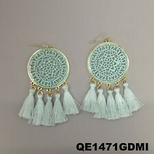 Bohemian Style Mint Laser Design Round Dangle Tassels Gold Finish Hook Earrings