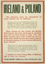 IRELAND AND POLAND, THE GERMANS CRUSH POLAND Irish WW1 Propaganda Poster