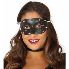 Señoras Tachonado Mascarada Máscara Fetiche Punk Negro Halloween Disfraz