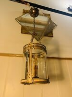 Louis XVI Bronze & Glass French Empire Lantern, Antique Hall Light