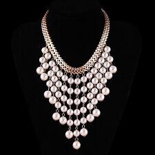 Fashion Jewelry Pendant Chunky Pearl Bib Chain Statement Collar Choker Necklace