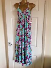 stunning GERI BY NEXT maxi dress Size 8 halter neck Turquoise blue pink floral