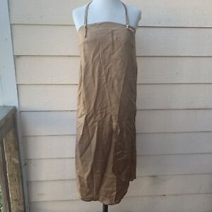 Ajaie Alaie Desert Dress Women Tan Brown Halter Casual Boho Strap Strapless S