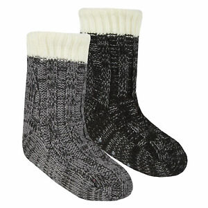 Street Essentials Boys Knitted Fleece Lined Lounge Slipper Socks