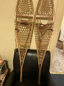 """🔵Vintage Snowshoes Snocraft Norway Maine Leather Bindings Stamped 12x60"""" Lodge?"""