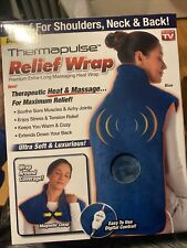Deluxe Thermapulse Heat Massaging  Relief Wrap Extra-Long Blue NIB