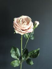 Realistic Antique Pink Peach Artificial Rose, Luxury Faux Silk Flower Roses