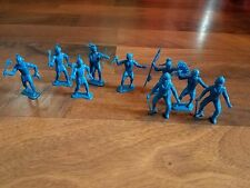 Vtg 1950/60s Lot of 9 Blue Plastic Cowboys Indians Western Toy Figure Lot! MPC