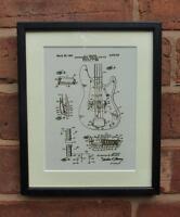 USA Patent Drawing  FENDER BASS GUITAR PICKUP MOUNTED PRINT 1959 Xmas Gift