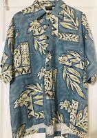 USA Hutspah Hawaiian Shirt Floral Mens Large Aloha Tiki Beach Cruise Vacation M