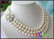 p1552 3ROW 11MM ROUND WHITE FRESHWATER PEARL NECKLACE