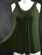 Ruched Stretchy Babydoll Flare Top~Green ~XL ~1X~14/16 ~Plus Size Vest / Shirt