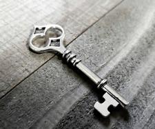 Big Key Pendant Antiqued Silver Skeleton Key Charm Steampunk 60mm
