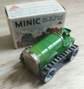 Triang Minic Tractor Boxed  - Vintage Tinplate Clockwork Green