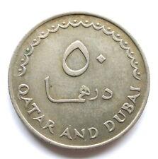 Qatar & Dubai 50 Dirhems 1386 (1966), Gacela, Cu-Nu, más. KM#5