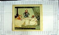 Original Old Antique Print Colour Nursery Rhyme Dying Man Children Bed