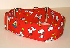 """1.5"""" Small (Whippet) Martingale Dog Collar Snoopy and Woodstock on Red"""