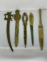 Lot of 5 Brass Ornate Antique Vtg Letter Openers Sword Pineapple Solid Etched