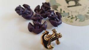 Vintage/retro shank button 4+1 pcs, dia 16.6mm, colour: eggplant, gold anchor