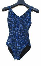 e74be9464a Size 6 Womens Speedo Swimsuit Blue Black One-piece Straight Straps Geometric
