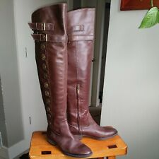 Sam Edelman Pierce Brown Leather Military Style Over the Knee Boots 7.5 M