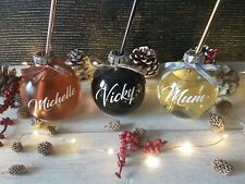 Personalised Name Christmas Bauble Drinking Glass Gin Stainless Steel Straw
