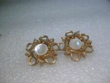 Vintage Gold Tone A.B. and M.O.P. Stud Clip Earrings, 1950-1960's