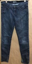 Anlo Blue Mid Rise Dark Resin Wash Wide Leg Jeans Size 28 With Ankle Zipper #100