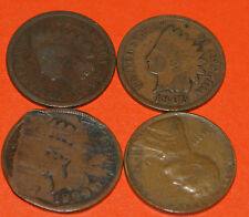 Old Rare Full Date Indian Head Penny Lot (3) & (1) Wheat Penny