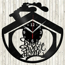 Sweet Home Vinyl Record Wall Clock Decor Handmade 1809