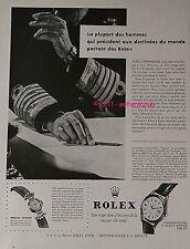 PUBLICITE ROLEX MONTRE GRANDS HOMMES CHEF MILITAIRE DE 1956 FRENCH AD ADVERT PUB