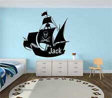 Pirate Ship Personalised Name Boys Bedroom Wall Art Sticker Decal Mural Transfer