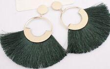 Earring Boho Festival Party Boutique Uk Gold Khaki Green Drop Tassel Fashion
