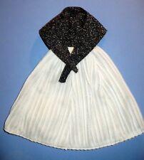 VINTAGE HANDMADE BARBIE BLACK & WHITE METALLIC GOWN DRESS & WRAP BEAUTIFUL