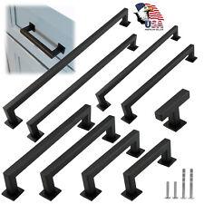 Black Modern Square Cabinet Handles Bar Pulls Kitchen Hardware Stainless Steel
