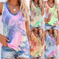Womens Blouse CAMI Shirt Ladies Tie-Dye Tank Tee Vest Sleeveless Casual Tops