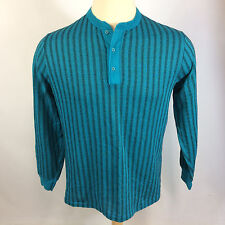 Minty Vintage 80s 90s Grunge Surf Stripe Henley Thermal Long John T Shirt Neon