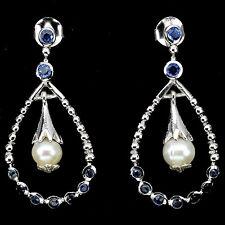 Ohrringe Perle Saphir blau 925 Silber 585 Weißgold