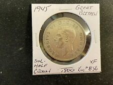 GREAT BRITAIN 1945  SILVER  .500  1/2  CROWN  XF  M45