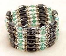 4-5mm Blue Baroque Natural FW Pearl & Hematite Magnetic 38'' Bracelet-bra355