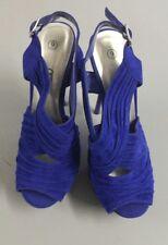 Debs Womens Heels Prom Platform Formal Blue Velvet Bright Tall Sz 9 Gathered Loo