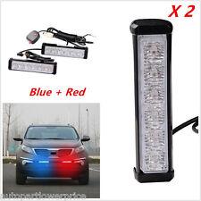 2×6LED Car Front Grille Warning Emergency Beacon Strobe Flash LED Red+Blue Light